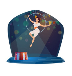 circus trainer and linon in fire circle vector image