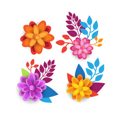 colorful floral elements graphic design with vector image