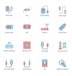 Computer cables flat icons pack vector
