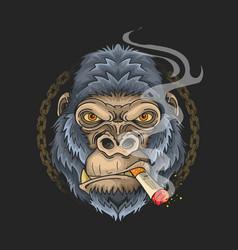 cool gorilla smoking grunge chain background vector image