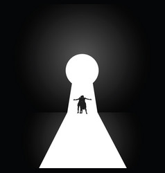 couple in front of the keyhole vector image