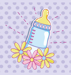 Cute baby bottle with flowers vector