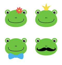 cute green frog with flower crown bow mustache vector image