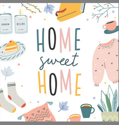 Cute hygge lifestyle elements made as square vector