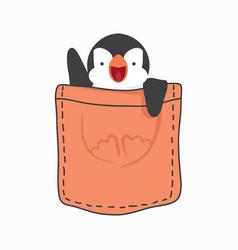 cute penguin fat inside pocket vector image