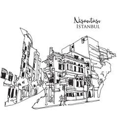 Drawing sketch nisantasi istanbul vector