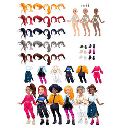 dresses and hairstyles gamexa vector image