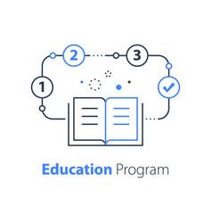 Education program open book simple learning plan vector