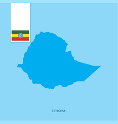 Ethiopia country map with flag over blue vector