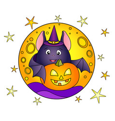 Fat bat and halloween pumpkin on background vector