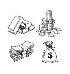 Finance money set sketch gold bars stack of vector