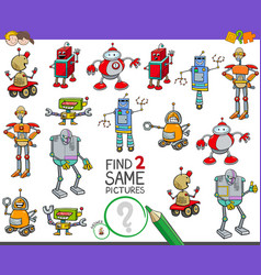 Find two same robot characters game for kids vector