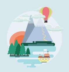 Flat design nature landscape colorful vector