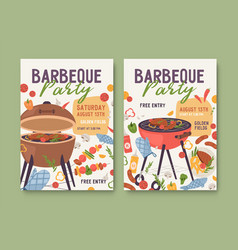 flyer templates for summer bbq party ad poster vector image