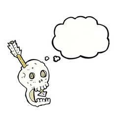 Funny cartoon skull and arrow with thought bubble vector