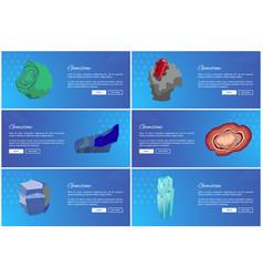 Gemstones web poster set aquamarine agate sapphire vector