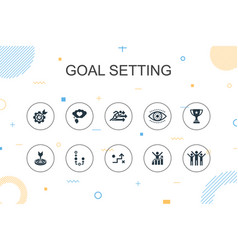 Goal setting trendy infographic template thin vector
