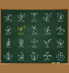 grass chalk draw line icons set vector image