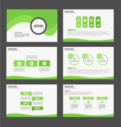 Green presentation templates Infographic elements vector image
