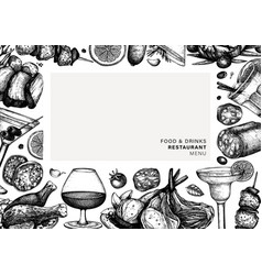 Hand drawn food and drinks frame design meat vector