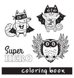 Hand drawn outline cartoon animals in superheroes vector