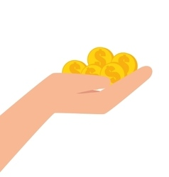 hand human with coins vector image