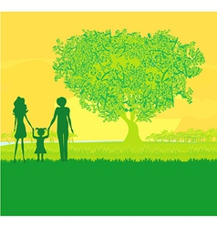 Happy family walks on nature sunset vector