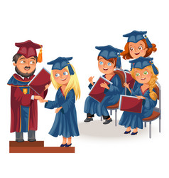 happy graduates on celebration ceremony flat vector image