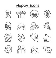 happy icon set in thin line style vector image