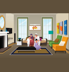Happy muslim family at home vector