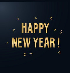 Happy new year elegant gold text with light vector