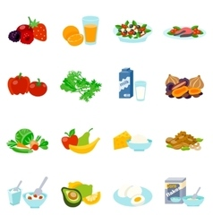 Healthy Food Flat Icons Set vector image
