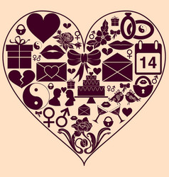 Heart shape with st valentine day icons vector