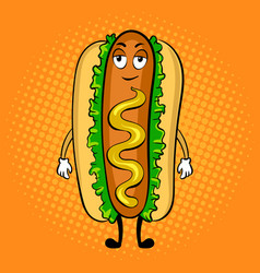 Hot dog cartoon pop art vector