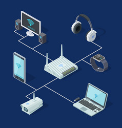 Isometric wi-fi router and popular gadgets take vector