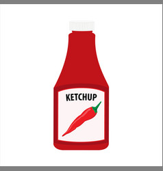 ketchup bottle isolated on white background vector image