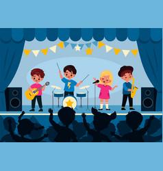 kids music band children stage performance girls vector image