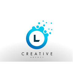 L letter logo blue dots bubble design vector