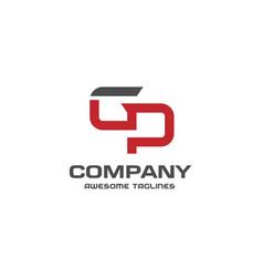 letter gp logo design template vector image