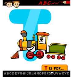 letter t with train cartoon vector image