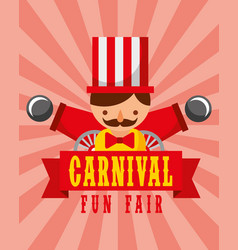 man and cannons entertainment carnival fun fair vector image