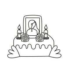 Mexican altar day dead with picture vector