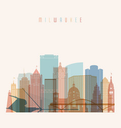 milwaukee state wisconsin skyline detailed vector image
