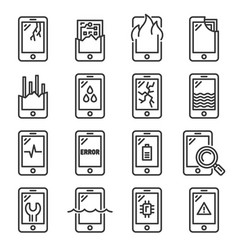 mobile phone damage icon set line style vector image