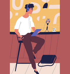 modern guy in headphones use smartphone during vector image