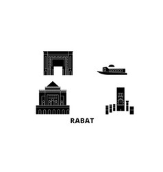 Morocco rabat flat travel skyline set morocco vector