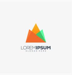 mountain origami logo design vector image