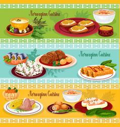 Norwegian cuisine seafood lunch banner set vector