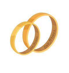 Pair of golden wedding rings vector