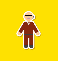 Paper sticker on stylish background male guard vector